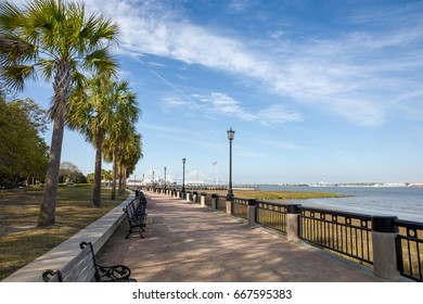 View of Waterfront Park in Charleston, SC.  Plenty of copy space in the sky if needed.