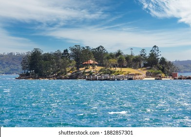 View from the waters of Sydney Harbor, Australia towards Shark Island a small island and picnic spot that can be reached by ferry