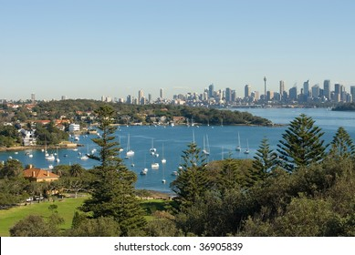A view of Watsons Bay, and the distant skycrapers of Sydney' CBD