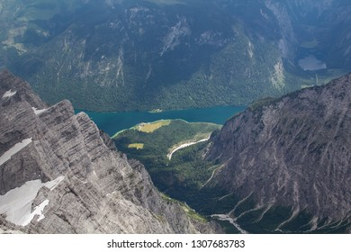 View  from the Watzmann eastern wall down to Saint Bartholomae and the Königsee
