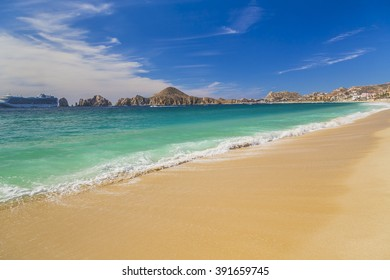 View of Waves at Sandy Beach of Cabo San Lucas in Mexico