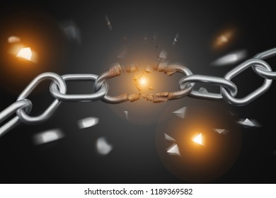 View of a Weak link of a Broken chain exploding - 3d render