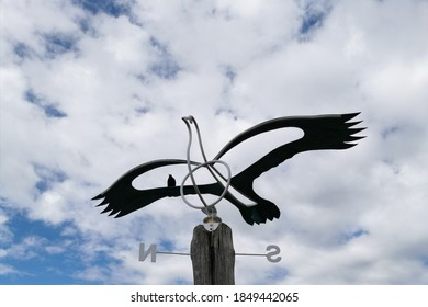 A view of a weathervane bird on a cloudy day background