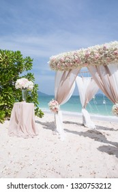 view of wedding decoration on  tropical summer beach