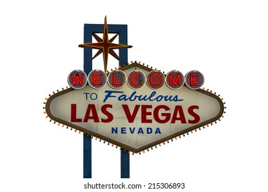 A view of Welcome to Fabulous Las Vegas sign in Las Vegas Strip isolated on white