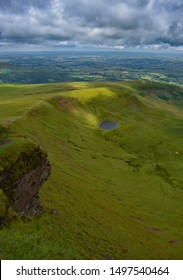 View of Welsh countryside from top of Pen Y Fan Mountain