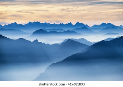 view from the wendelstein mountain - bavaria - germany