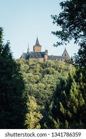 View of the Wernigerode castle. Surrounded by green lush forest
