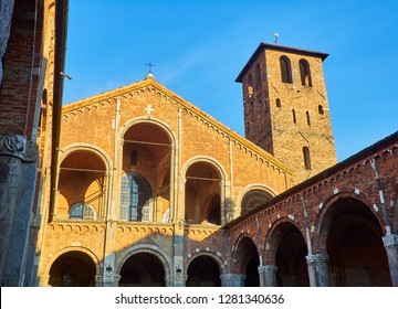 View of the west facade from the Ansperto Atrium of the Basilica of Sant'Ambrogio. Milan, Lombardy, Italy.