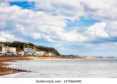 View of West Hill and East Hill and the Beach of Hastings, England