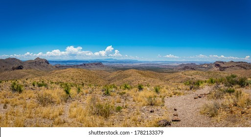View to the west into Mexico from the Sotol Vista Overlook of the Chihuahuan Desert and Chisos Mountains at Big Bend National Park in Texas.