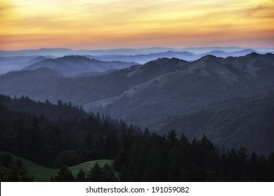 View of west Marin County hills during sunset
