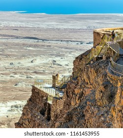 View from the west to the North Palace of the Masada fortress, located on the eastern edge of the Judean Desert near the Dead Sea - Israel