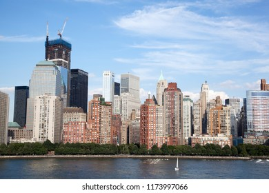 The view of west side Lower Manhattan modern skyscrapers (New York City).