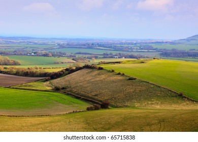 A view of West Sussex countryside from the South Downs