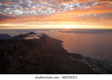 The View west from Table Mountain at sunset.
