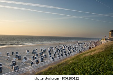 View of Westerland beach on a beautiful evening on the island of Sylt, Germany