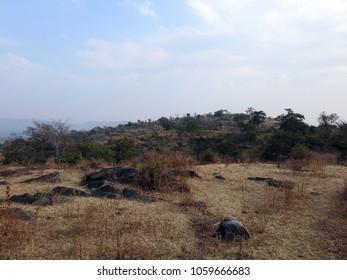 View of westerly range of Aravalli Hills from Kumbhalgarh, located near Udaipur, Rajasthan, India.