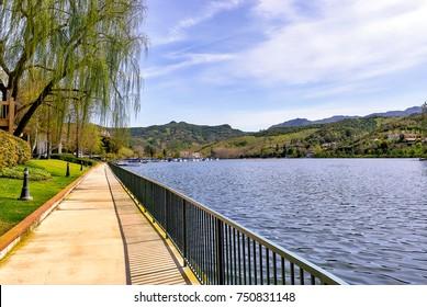 View of Westlake Village Lake in Southern California