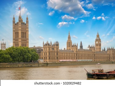View of Westminster Palace from across river Thames.