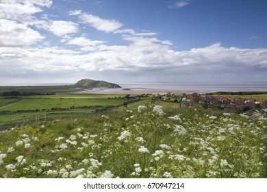 View of Weston Super Mare, Somerset from Uphill hillside looking across to Brean Down