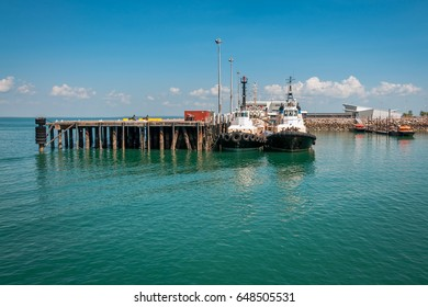 View of wharf and pier in Darwin Harbor at Stokes Hill, Kitchener Bay, Northern Territory, Australia.