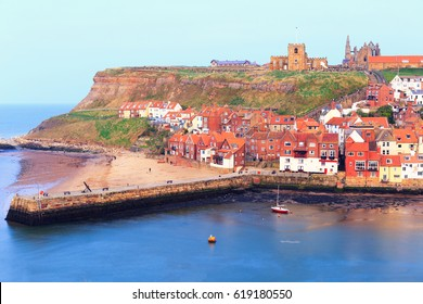 View of Whitby harbour in Whitby, North Yorkshire, England.