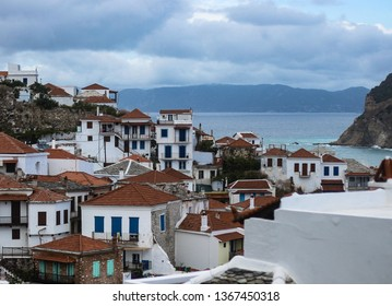 View to white houses and red roofs of Skopelos town, Skopelos island, Sporades, Greece