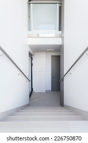 View of white staircase in a building