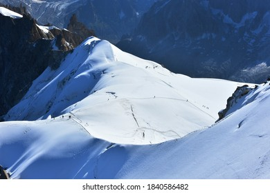 View of White Valley, Mont Blanc massif from Aiguille du Midi 3842m, Chamonix, France