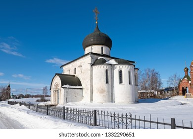 View of the white-stone Saint George Cathedral facade  in winter, Yuryev-Polsky, Russia