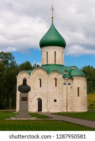 View of white-stone Transfiguration Cathedral and monument to Prince Alexander Nevsky in Pereslavl Kremlin, Pereslavl-Zalessky, Russia