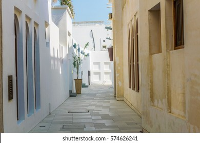 View of whitewashed houses situated alongside the famous, unesco enlisted, pearl trade trail in AL Muharraq island, Bahrain.