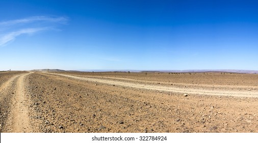 View of a wild landscape and desert in the south of Morocco