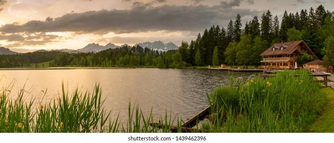 View of the Wilder Kaiser Mountain Range from Schwarzsee near Kitzbuhel, Austria, Europe 1-6-2019