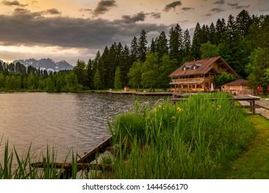 View of the Wilder Kaiser Mountain Range from Schwarzsee near Kitzbuhel, Austria, Europe 1-5-2019