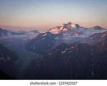 The view of Wildspitze peak, the 2nd highest peak of Austrian Alps