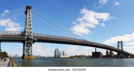 View of Williamsburg Bridge at sunny day.