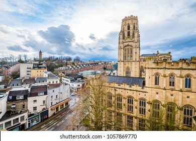 View of Wills Memorial Building, University  of Bristol and Clifton with dramatic sky in early spring