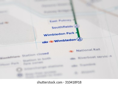 View of Wimbledon station on a London subway map. (selective colouring)
