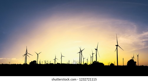 View of wind turbines