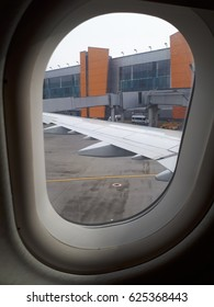 a view from the window of airplane