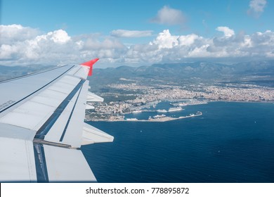View from a Window of an airplane on mallorca