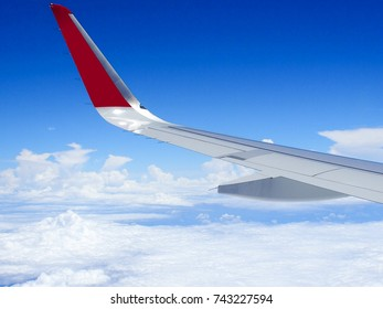 View from the window of an airplane wing and clouds