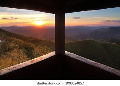 View from the window. Beautiful scenery during sunset at Nern Chang Suek Mountain, Kanchanaburi province in Thailand. Freedom and natural Concept