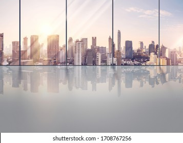 View window business office, Modern design empty Backgrounds For Showroom car and Products. background For business Graphic design illustration for banner