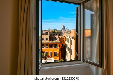 View from window of the dome of the Basilica of SS Ambrose and Charles Church on the Corso in Rome, Italy.