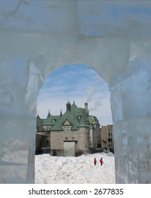View from window of ice castle at Quebec City Carnaval.