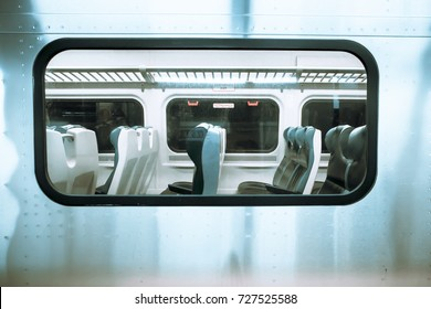View in window of New York City Long Island Railroad Train at Pennsylvania Station.