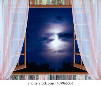 view from the window night landscape large moon